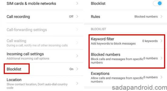 blokir sms dengan keyword filter